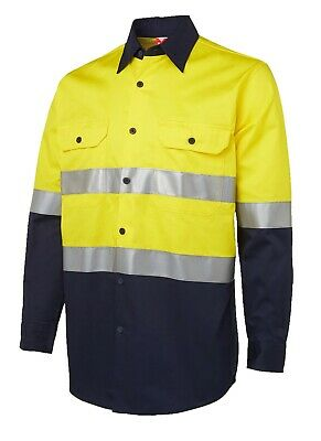3x HI VIS Shirts COTTON DRILL SAFETY WORK 3M REFLECTIVE LONG SLEEVE VENTILATED 6