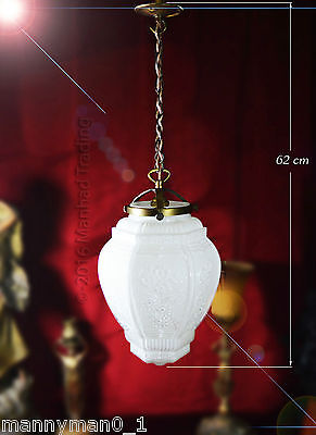 Stunning all original Austrian 1940 Art deco opaline glass ceiling light lantern 3