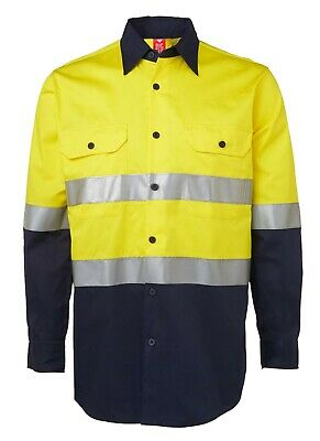 3x HI VIS Shirts COTTON DRILL SAFETY WORK 3M REFLECTIVE LONG SLEEVE VENTILATED 7