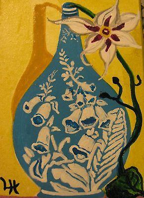 "C311    Original Acrylic  Painting By Ljh  ""Rose Bowl"" 9"