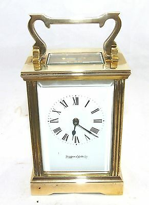 MAPPIN & WEBB Brass Carriage Mantel Clock Timepiece with Key  Working Order (61) 2