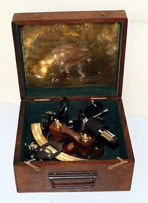 """Nautical vintage brass sextant 8"""" marine ship working instruments in wooden box 2"""