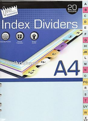 A4 White Card A to Z -20 Part Tabbed Dividers - Index Cover File Ring Binder 2