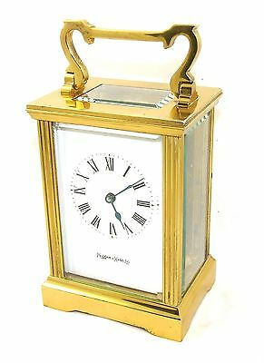 MAPPIN & WEBB Brass Carriage Mantel Clock Timepiece with Key  Working Order (54) 3