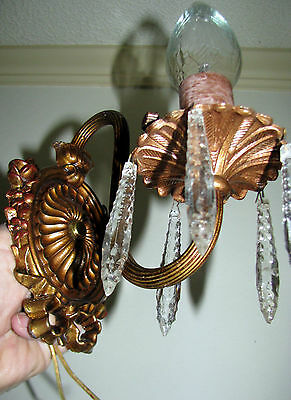2 Vintage Art Deco Era Cast Metal Sconces Wall Light Fixture Chandelier 1930 2