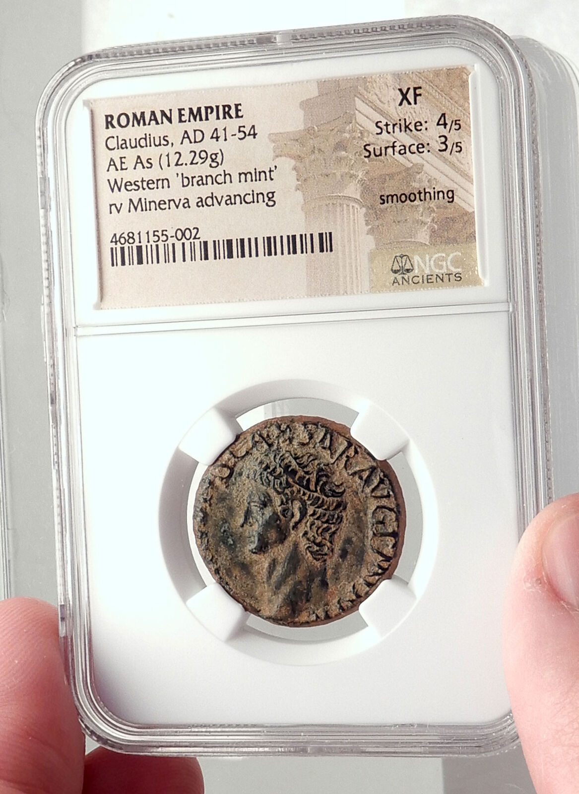 CLAUDIUS Authentic Ancient 41AD Genuine Original Roman Coin MINERVA NGC i71723 3