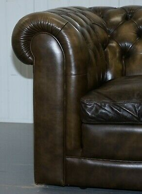 Stunning Pair Of Vintage Chesterfield Leather Club Armchairs Feather Cushions 6