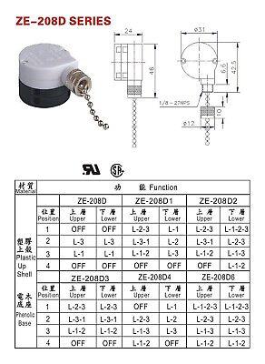 PULL CHAIN 3 spd SWITCH Br ZING EAR ZE-208D ceiling fan ... on