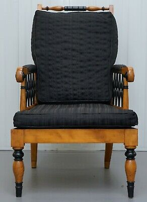 Antique Satin Birch Wood Swedish Biedermeier Library Reading Armchair Ebonished 2