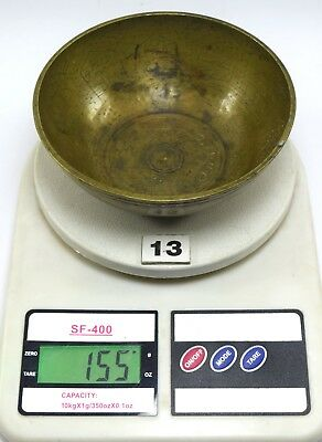 Antique Finely Engraved Calligraphy Persian Islamic Art brass Bowl. G3-26 US 8