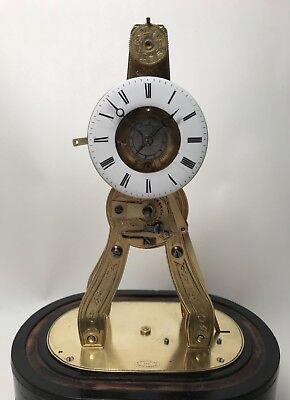 Pretty Miniature Scissor Frame Skeleton Clock With Alarm & Glass Dome Circa 1860 5