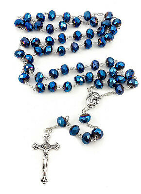 Deep Blue Crystal Beads Rosary Catholic Necklace Holy Soil Medal Cross Crucifix 4