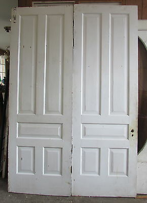 Double Five Panel 1890's Painted White Oversized Doors Architectural Salvage 3