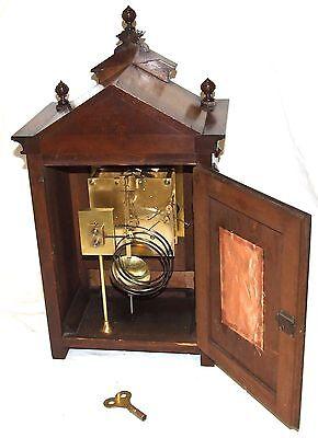 Antique Oak & Brass TING TANG Bracket Mantel Clock : CLEANED & SERVICED (a60) 11