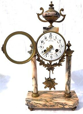 French Antique Pink Orange Rouge Marble Bracket / Mantel Clock Garniture Set 10