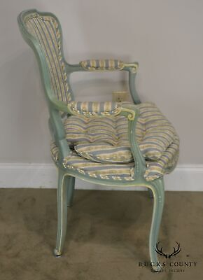 French Louis XV Style Vintage 1960's Custom Painted Pair Armchairs 5