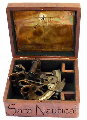 Nautical Brass Antique Sextant Vintage Brass Antique With Wooden Box 4