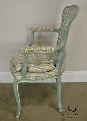 French Louis XV Style Vintage 1960's Custom Painted Pair Armchairs 7