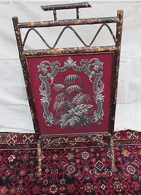 Beautiful Victorian Bamboo Antique Firescreen With Floral Glass Bead Work 2
