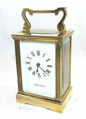 MAPPIN & WEBB Brass Carriage Mantel Clock Timepiece with Key  Working Order (61) 3