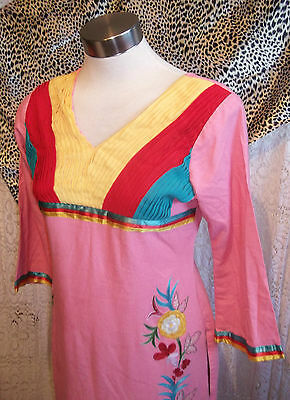Pink Vintage Indian Tunic top.calf length,side splits, embroidered ruffle detail 2