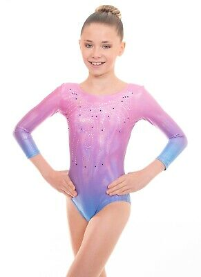 Deluxe Girls Sleeveless /& Long Sleeve Gymnastics Leotards UK Short /& Sleeved