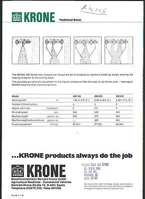 KRONE DISC MOWER AM SERIES 4 page sales brochure