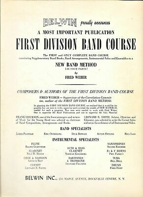 Drums Belwin Mills First Division Band Method Part One and Two Music Book 5