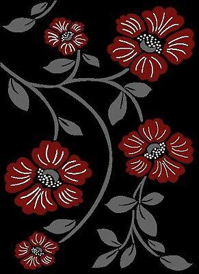 Black Floral Rug Red Flower Runner Mat Modern Living Room Hall Soft Smooth 2
