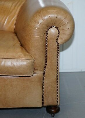1 Of 2 Vintage Victorian Style Restored Brown Leather Club Sofas Coil Sprung 7