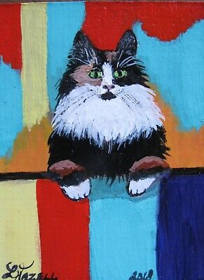 """A834        Original Acrylic Aceo Painting By Ljh  """"Frankie""""  Cat  Kitten 10"""