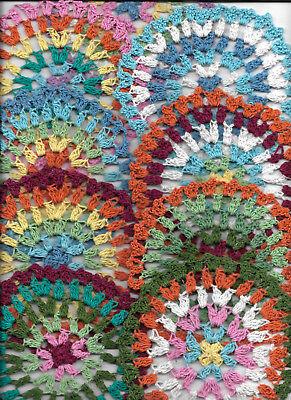 "9 psc set Hand Crochet Doilies 5"" Rainbow  Colorful  Mandala Boho Vintage Hipp"