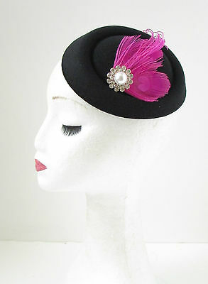 Black Hot Pink Silver Feather Pillbox Fascinator Hat Races Vintage Hair Clip 138 5