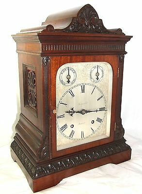 Winterhalder W & H Antique Mahogany TING TANG Bracket Mantel Clock CLEAN SERVICE 3