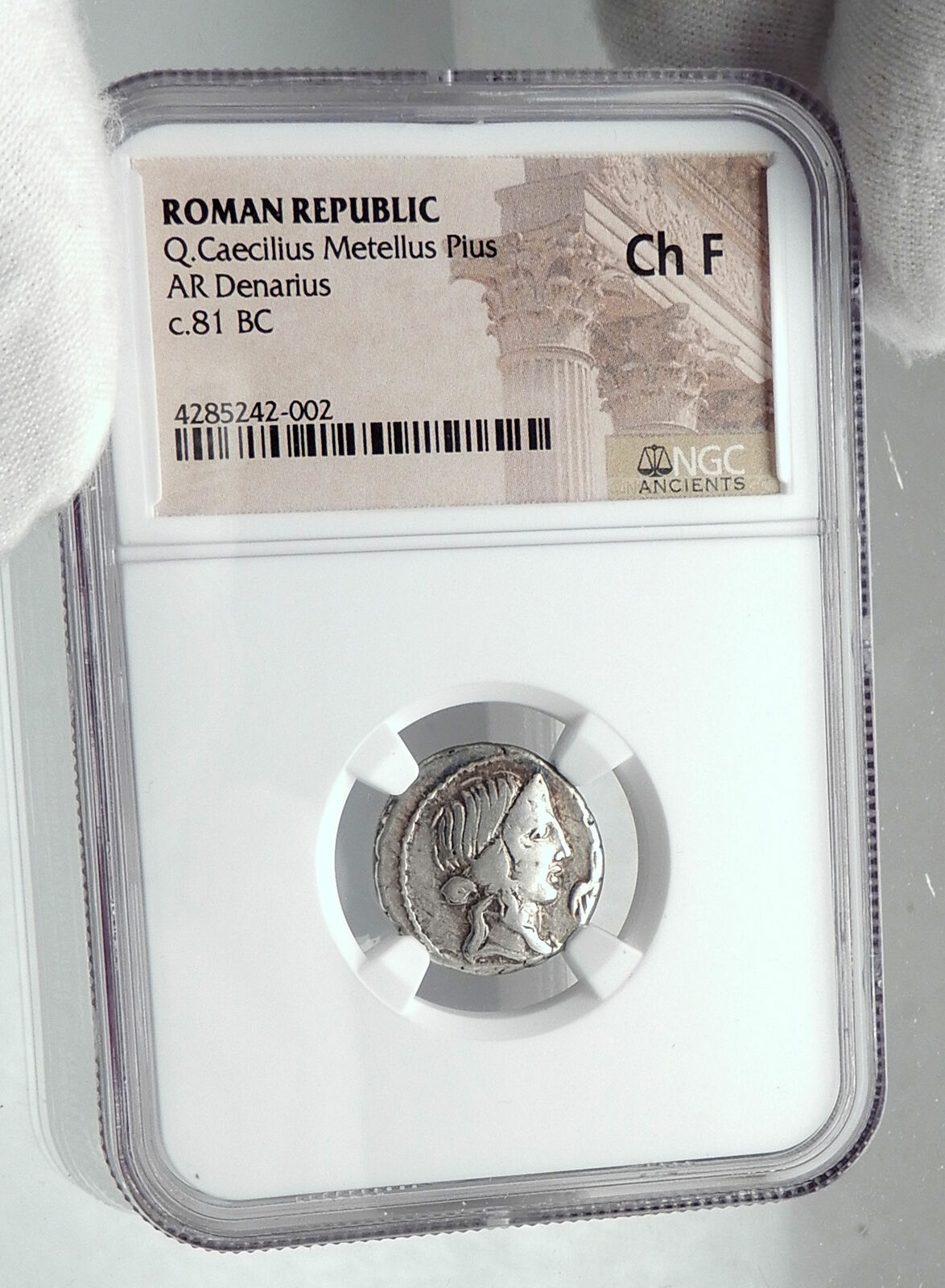 Roman Republic 81BC IMPERATOR GENERAL of DICTATOR SULLA Silver Coin NGC i81165 3