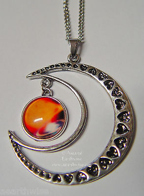 CRESCENT MOON WITH GLASS GALAXY CABOCHON PENDANT D Wicca Witch Pagan Goth
