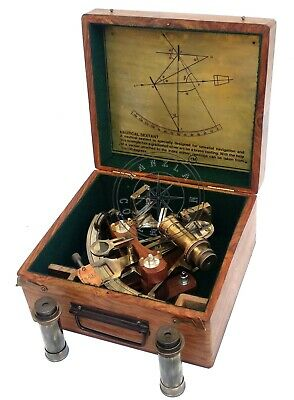 """8"""" Henry Barrow Nautical Sextant Antique Brass Ship Astrolabe With 2 Telescope 6"""