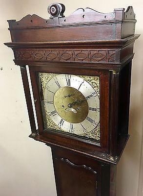 ~ Antique Brass 8 Day Oak & Mahogany Longcase Grandfather Clock WALKER NANTWICH 3
