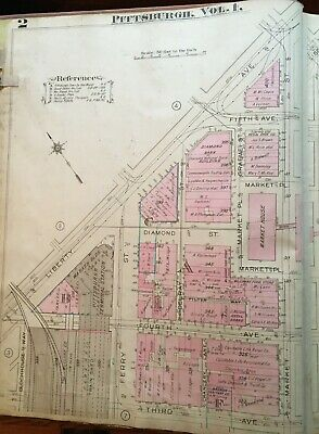 1923 Pittsburgh Pa Terminal Station Courthouse Union Arcade Wabash Bld Atlas Map 3