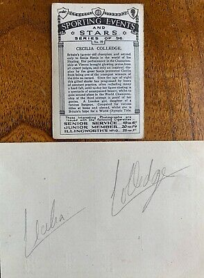 CECILIA COLLEDGE 1930's WORLD SKATING CHAMPION GENUINE AUTOGRAPH WITH CARD 2