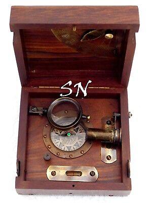 Antique Brass Marine Master Box /& Nautical Compass Telescope Magnifying Glass
