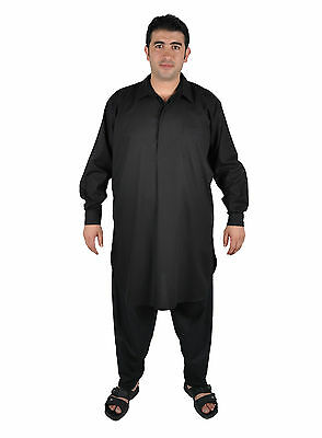 Due pezzi Salwar Kameez insieme Pantaloni Tunica in Stile pakistano nero 4
