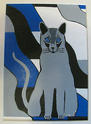 """C76     Original Acrylic Painting By Ljh     """"Russian Blue With Ceramic""""    Cat 8"""