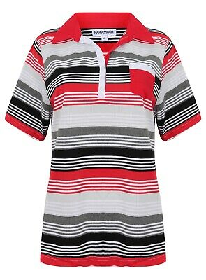 Ladies Polo Shirt Striped Cotton Blend New Button Up Collar Womens Pocket Summer 6