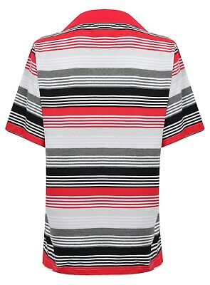 Ladies Polo Shirt Striped Cotton Blend New Button Up Collar Womens Pocket Summer 7