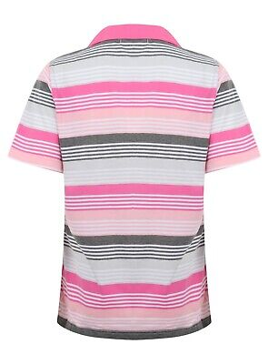 Ladies Polo Shirt Striped Cotton Blend New Button Up Collar Womens Pocket Summer 3