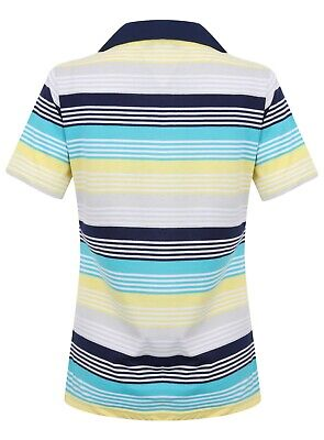 Ladies Polo Shirt Striped Cotton Blend New Button Up Collar Womens Pocket Summer 9