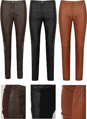 Leather Look Leggings Trousers H And M Stretch Pants New Womens Black Skinny Pu 2