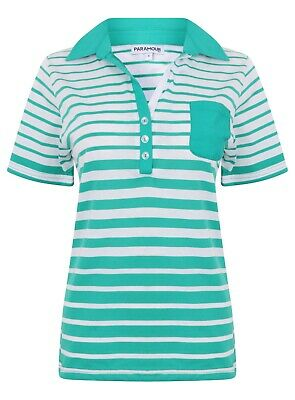 Ladies Polo Shirt Striped Cotton Blend New Button Up Collar Womens Pocket Summer 12