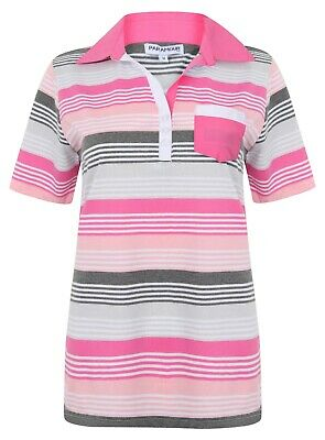Ladies Polo Shirt Striped Cotton Blend New Button Up Collar Womens Pocket Summer 2
